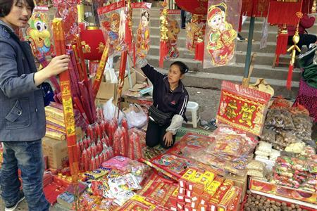 Chinese New Year decorations are seen on sale in the northeastern town of Lashio, which has a large ethnic Chinese population, January 19, 2012. REUTERS-Staff