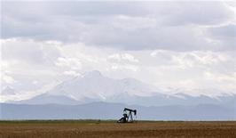 Нефтяная вышка на месторождении под Денвером, 16 мая 2008 года. Запасы нефти в США выросли за неделю, завершившуюся 10 февраля, на 2,9 миллиона баррелей до 337,833 миллиона баррелей, сообщил Американский институт нефти (API). REUTERS/Lucas Jackson
