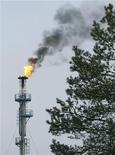 """Сжигание природного газа на НПЗ, расположенном на ветке нефтепровода """"Дружба"""" около города Мозырь, 8 января 2010 г. Транснефть обсуждает с правительствами, строительными и инфраструктурными компаниями Германии и Чехии проект перемычки между северной и южной ветками нефтепровода """"Дружба"""", по которому российская нефть поставляется на европейские НПЗ, сообщил Рейтер вице-президент трубопроводной монополии Михаил Барков. REUTERS/Vasily Fedosenko"""