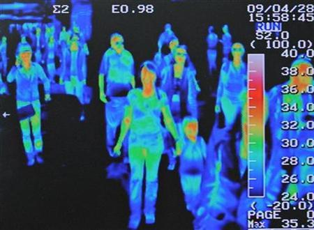 A thermal scanner shows the heat signature of passengers from an international flight arriving at Incheon airport, west of Seoul, April 28, 2009. REUTERS/Jung Yeon-je
