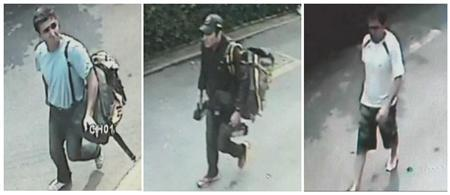 Three men suspected to be involved in three blasts in Bangkok in still images taken from closed-circuit television footage on February 14, 2012. REUTERS/TPBS via Reuters TV