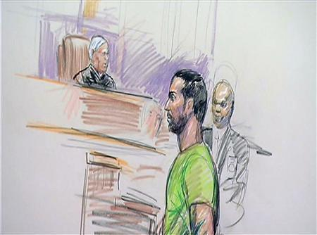 An artists' courtroom sketch shows Amine El Khalifi, an illegal immigrant from Morocco as he is brought before a judge in the Federal Courthouse in Alexandria, Virginia February 17, 2012.  REUTERS/Dana Verkouteren/Handout