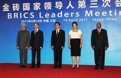 Лидеры стран БРИК на саммите в Санье, 14 апреля 2011 г. Страны БРИК не стали менее уязвимыми к мировым потрясениям, несмотря на их сильный экономический рост в последние четыре года, показали результаты исследования, опубликованные в понедельник. REUTERS/Handout