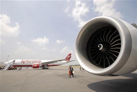 A passenger aircraft of Kingfisher Airlines is seen in Hyderabad October 15, 2008. REUTERS/Krishnendu Halder/Files