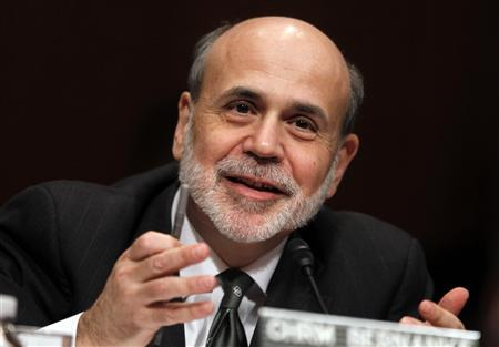 U.S. Federal Reserve Chairman Ben Bernanke testifies before a Senate Budget Committee hearing on the outlook for the U.S. Monetary and Fiscal Policy on Capitol Hill in Washington, in this February 7, 2012 file photograph. REUTERS/Jason Reed/Files