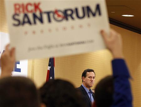 Rick Santorum speaks during a Tea Party Rally in Columbus, Ohio February 18, 2012.  REUTERS/Matt Sullivan