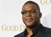 "Director and actor Tyler Perry poses at the premiere of his new film ""Good Deeds"" in Los Angeles, California February 14, 2012. REUTERS/Fred Prouser"