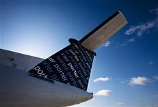 The back of a Porter Airlines Bombardier Q400 turboprop aircraft is seen in Toronto February 23, 2009.     REUTERS/Mark Blinch