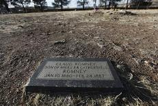 A memorial grave marker for Claude Romney, one of the ancestors of Republican US presidential hopeful Mitt Romney, is seen at the graveyard of the Colonia Juarez, in the Mexican state of Chihuahua February 7, 2012. REUTERS/Tomas Bravo