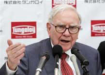 Berkshire Hathaway Chairman Warren Buffett speaks at a news conference after the opening ceremony of Tungaloy Corp's new plant in Iwaki, Fukushima Prefecture November 21, 2011. REUTERS/Kim Kyung-Hoon