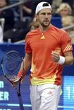 Австрийский теннисист Юрген Мельцер на игре в Мемфисе, 24 февраля 2012 года. Австрийский теннисист Юрген Мельцер совершил самый значительный рывок в первой сотне сильнейших теннисистов мира и ворвался в топ-20 обновленной версии рейтинга ATP. REUTERS/Nikki Boertman