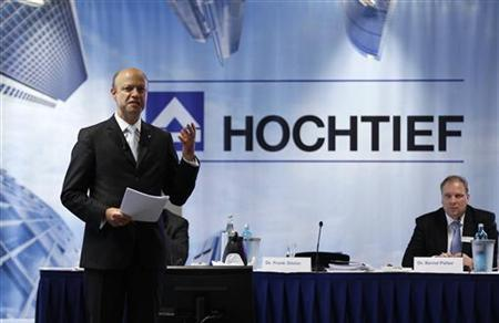 CEO of Hochtief AG, Frank Stieler addresses the annual news conference in Duesseldorf February 29, 2012. German builder Hochtief scrapped its 2013 profit goal and said earnings this year would still fall short of levels reached two years ago as weak economic growth hits construction orders in the United States.  REUTERS/Ina Fassbender (GERMANY - Tags: BUSINESS ENERGY)