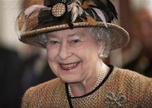 Britain's Queen Elizabeth views the interior of the refurbished East Wing of Somerset House at King's College in London February 29, 2012. REUTERS/Eddie Mulholland/POOL