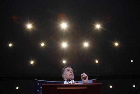 Republican presidential candidate and former Massachusetts Governor Mitt Romney speaks during a campaign event in Mesa, Arizona February 13, 2012. REUTERS/Joshua Lott
