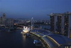 A view of the Marina Bay Sands integrated resort (R) in Singapore, July 12, 2011. REUTERS/Clarissa Cavalheiro