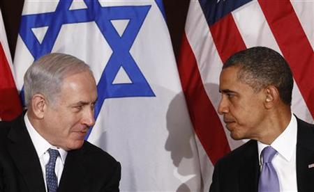 President Barack Obama meets Israel's Prime Minister Benjamin Netanyahu at the United Nations in New York, September 21, 2011. REUTERS/Kevin Lamarqu