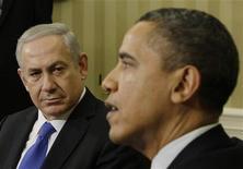 Премьер Израиля Беньямин Нетаньяху и президент США Барак Обама на встрече в Белом доме в Вашингтоне 5 марта 2012. Нетаньяху заверил президента США Барака Обаму, что Тель-Авив не пришел ни к какому решению относительно атаки на ядерные объекты Ирана, сообщили источники, близкие к переговорам. REUTERS/Jason Reed