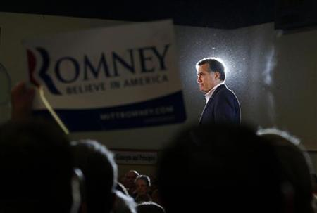 Republican presidential candidate and former Massachusetts Governor Mitt Romney speaks at a campaign rally in Knoxville, Tennessee March 4, 2012. REUTERS/Brian Snyder