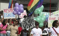 Members of the gay and lesbian community in Mauritius take part in a march for gay rights and gender equality in a file photo.   REUTERS/Jean Alain Laportine