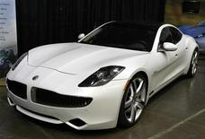 A Fisker Karma luxury plug-in hybrid car is seen at the sixth annual Alternative Transportation Expo and Conference (AltCar) in Santa Monica, California September 29, 2011. REUTERS/Lucy Nicholson