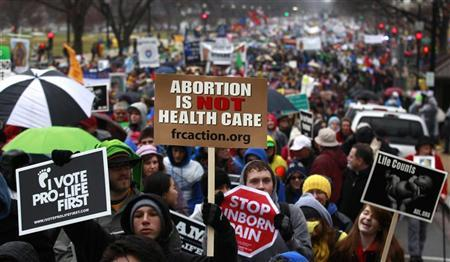 Anti-abortion demonstrators take part in the ''March for Life'' in Washington January 23, 2012. REUTERS/Kevin Lamarque