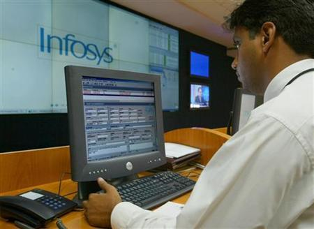 An engineer works in the control room at Infosys Technologies campus at Electronics City in Bangalore January 20, 2003. REUTERS/Pawel Kopczynski/Files