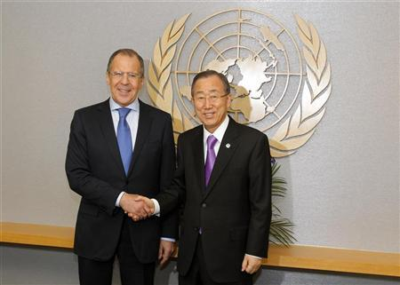 U.N. Secretary-General Ban Ki-moon shakes hands with Russia's Foreign Minister Sergei Lavrov (L) as they pose for a photograph at the U.N. headquarters in New York March 12, 2012. REUTERS/Adam Hunger