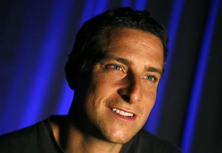 Adventurer Bear Grylls smiles during an interview with Reuters in New York April 23, 2008. REUTERS/Mike Segar