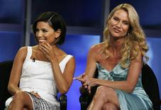 """Actresses Eva Longoria Parker (L) and Nicollette Sheridan, stars of the ABC series """"Desperate Housewives"""", take part in a panel discussion at the Disney ABC Television Group summer media tour in Beverly Hills, California July 17, 2008. REUTERS/Fred Prouser"""