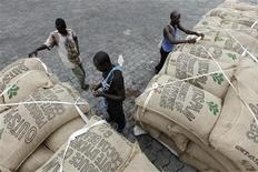 Workers prepare to load sacks of cocoa onto a ship at the port of Abidjan May 8, 2011. REUTERS /Luc Gnago