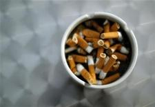 An ash try with cigarette butts is pictured in Hinzenbach, in the Austrian province of Upper Austria, February 5, 2012. REUTERS/Lisi Niesner