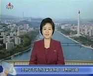 A North Korean Television KRT news reader announces the launch of a working satellite to mark the 100th birthday of Kim Il-sung in Pyongyang March 16, 2012 in this still image taken from video. North Korea will celebrate the centenary of the birth of its founder and father of late leader Kim Jong-il on April 15. The launch will take place between April 12 and 16, according to state media. REUTERS/KRT via Reuters TV