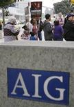 Protesters gather outside the AIG building in Los Angeles March 19, 2009. REUTERS/Mario Anzuoni