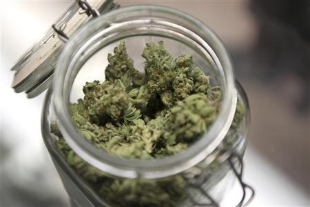 Medical marijuana is shown in a jar at The Joint Cooperative in Seattle, Washington January 27, 2012. Photo taken January 27, 2012 REUTERS/Cliff DesPeaux