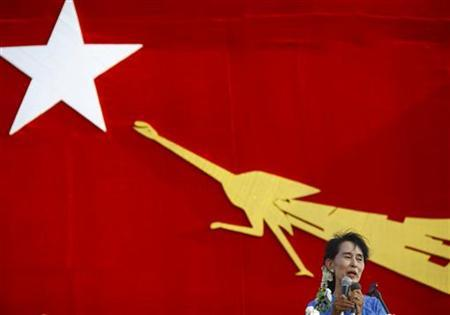 Myanmar pro-democracy leader Aung San Suu Kyi addresses her supporters during her election campaign at Kawhmu Township March 22, 2012. REUTERS/Staff
