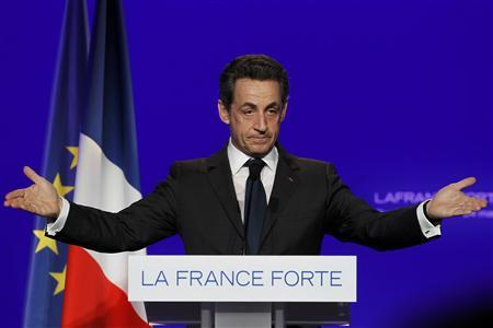 France's President and UMP party candidate for the 2012 French presidential elections Nicolas Sarkozy attends a political rally in Rueil-Malmaison, near Paris, March 24, 2012. REUTERS/Gonzalo Fuentes