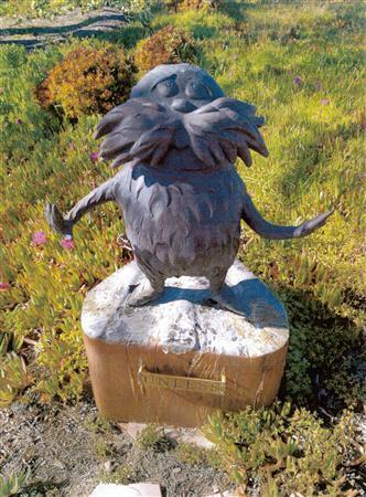 A 300-pound bronze statue of the Lorax, a character from a Dr. Seuss book and movie of the same name, is seen in this San Diego Police handout photo received by Reuters March 27, 2012. REUTERS/San Diego Police Department/Handout