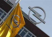 A flag is pictured in front of the Opel plant in Bochum March 23, 2012. REUTERS/Ina Fassbender