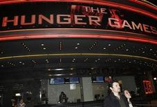 """The Regal Cinemas is seen during the opening night of """"The Hunger Games"""" in Los Angeles, California March 22, 2012. REUTERS/Jonathan Alcorn"""