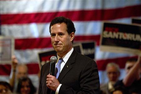 Republican presidential candidate and former U.S. Senator Rick Santorum addresses supporters at a rally at The Ravine in the Town of Bellevue Wisconsin March 24, 2012. REUTERS/Darren Hauck (UNITED STATES - Tags: POLITICS ELECTIONS)