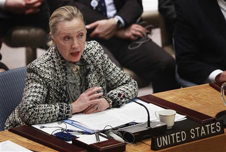 U.S. Secretary of State Hillary Clinton speaks during a meeting of the Security Council regarding the current situation in the Middle East at the UN Headquarters in New York March 12, 2012. REUTERS/Lucas Jackson