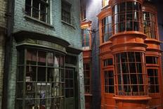 "Storefronts are seen in ""Diagon Alley"" during a media viewing tour of the set of the Harry Potter films at the Warner Bros.REUTERS/Finbarr O'Reilly"