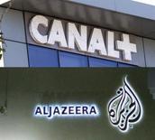 <p>Selon des experts, l'offensive d'Al Djazira en France avec le lancement de beIN Sport 1 et 2 pour 11 euros par mois constitue une menace directe pour Canal+, qui devrait toutefois limiter les pertes d'abonnés, au moins dans un premier temps. Les analystes s'attendent davantage à des doubles abonnements qu'à des transferts. /Photo d'archives/REUTERS/Charles Platiau/Fadi al-Assaad</p>