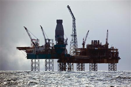 Total's Elgin Wellhead Platform is seen in the North Sea off the coast of Scotland April 2, 2012. REUTERS/Joerg Modrow/Greenpeace/handout