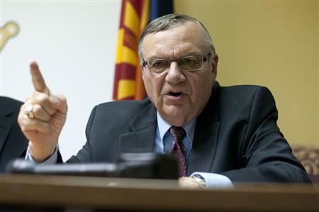 Maricopa County Sheriff Joe Arpaio talks to the media about the Department of Justice's investigative findings accusing the Maricopa Sheriff's Office of racial profiling and a pattern of discrimination at the Sheriff's office in Phoenix, Arizona December 15, 2011. REUTERS/Laura Segall