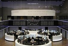 A general view of the DAX board at the Frankfurt stock exchange April 2, 2012. REUTERS/Remote/Amanda Andersen
