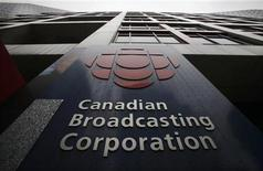 A sign is seen at the Canadian Broadcasting Corporation building in Toronto, March 25, 2009. REUTERS/Mark Blinch