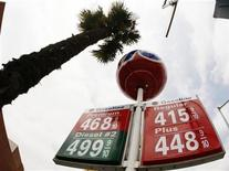 Gas prices are shown at a gas station in Beverly Hills, California May 20, 2008. REUTERS/Lucy Nicholson