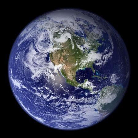 "This spectacular ""blue marble"" image is the most detailed true-color image of the entire Earth to date, using a collection of satellite-based observations, scientists and visualizers stitched together months of observations of the land surface, oceans, sea ice, and clouds into a seamless, true-color mosaic of every square kilometer of Earth. Much of the information contained in this image came from a single remote-sensing device-NASA's Moderate Resolution Imaging Spectroradiometer, or MODIS. REUTERS/NASA Goddard Space Flight Center/Handout"