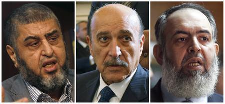 A combination photo shows (L-R) Muslim Brotherhood and the Freedom and Justice Party's (FJP) Khairat al-Shater on April 8, 2012, Vice President Omar Suleiman on February 6, 2011 and Salafist leader Hazem Salah Abu Ismail on December 15, 2011. The body overseeing Egypt's presidential election disqualified 10 candidates from the race on April 14, 2012, including al-Shater, former spy chief Suleiman and ultra orthodox Salafi Abu Ismail. Farouk Sultan, head of the presidential election commission, told Reuters the disqualified candidates had 48 hours to appeal against its decision. He declined to give details on the reasons for their disqualification. REUTERS/Amr Abdallah Dalsh(L & R)/Asmaa Waguih(C)/Files
